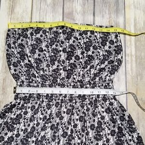 Everly Dresses - Everly Black & Whote Floral Strapless Dress M